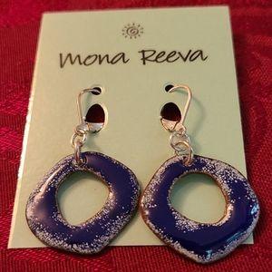 Blue Enamel Earrings with Silver Plate Leverbacks